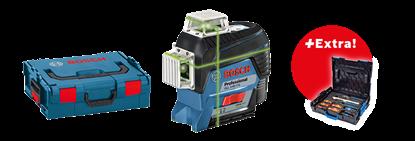 Снимка на GLL 3-80 CG линеен лазерен нивелир + BM 1 + 12 V Батерия + Зарядно устройство + Мишена + Чантичка за съхранение в L-boxx+Бонус комплект Gedore