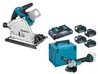 Снимка на Комплект акумулаторни инструменти Акумулаторен потапящ циркуляр DSP600ZJ,18+18 V,165 mm +Акумулаторен ъглошлайф DGA504Z+К-КТ MAKPAC BL1830B,3Ah x4 бр