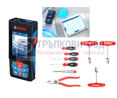 Снимка на НОВО! Лазерна ролетка GLM 120 C,Bluetooth™ Smart,3,6 V литиево-йонна акумулаторна батерия+ Подарък WIHA комплект 9 части