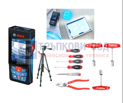 Снимка на НОВО! Лазерна ролетка GLM 120 C,Bluetooth™ Smart,3,6 V литиево-йонна акумулаторна батерия + Статив BT 150 + Подрък WIHA комплект 9 части