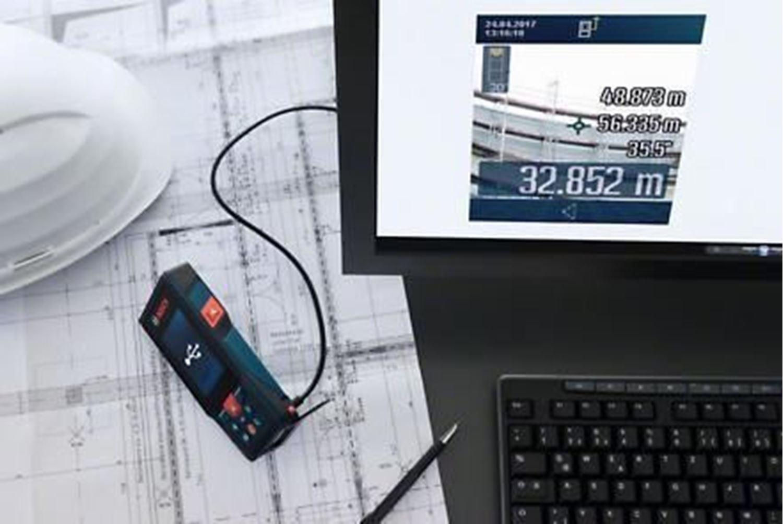 Снимка на НОВО! Лазерна ролетка GLM 120 C,Bluetooth™ Smart,3,6 V литиево-йонна акумулаторна батерия+ Подарък Преносимо Барбекю