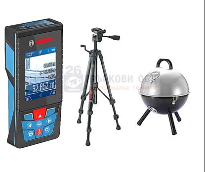 Снимка на НОВО! Лазерна ролетка GLM 120 C,Bluetooth™ Smart,3,6 V литиево-йонна акумулаторна батерия + Статив BT 150+ Подарък Преносимо Барбекю
