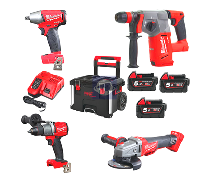 Снимка на Milwaukee M18FPP4A-503P FUEL POWERPACK IN2,3 батерии 5,0Ah;4933471148