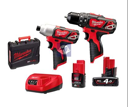 Снимка на Комплект акумулаторни инструменти Milwaukee M12BPP2B-421C,2.0 и 4.0Ah;4933443497